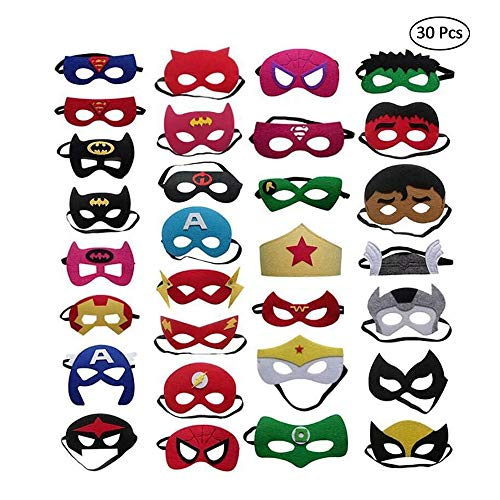 QTFHR Party Masks for Children 30 Piece Superhero Masks Perfect for Children Aged 3+]()