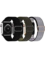 GBPOOT 3 Pack Stretchy Solo Loop Compatible with Apple Watch Bands 38mm 40mm 42mm 44mm,Adjustable Braided Sport Elastic Nylon Wristband for iWatch Series 6/SE/5/4/3/2/1