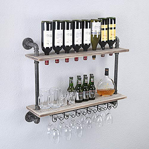 - FODUE Rustic Wall Mounted Wine Racks with Glass Holder Pipe Hanging Wine Rack,2-Tiers Wood Shelf Floating Shelves,Home Room Living Room Kitchen Decor Display Rack (24 inch)