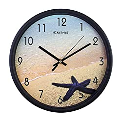 JustNile 12-Inch Silent Wall Quartz Clock with Modern & Creative Black Decor Frame; Extreme Time Precision; Smooth Hand Non-Ticking Movement - Sea Star/Starfish on The Beach