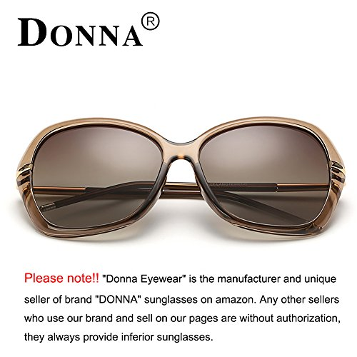 DONNA Women's Classic Oversized Polarized Sunglasses Super Big Circle Shades Ultralight D72(Brown) by DONNA (Image #2)