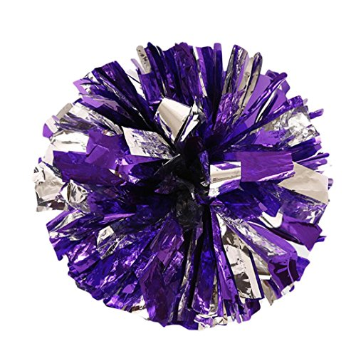 - Botrong Metallic Foil and Plastic Ring Handheld Pom Poms Cheerleading Party Football Decor (Purple)