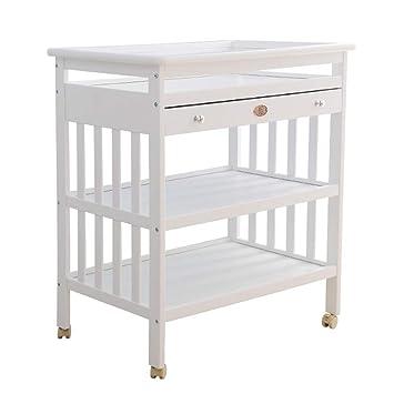 8b5b2a62260a Amazon.com : Wood Baby Changing Table, Adjustable Diaper Changes Dresser  Unit Infants Children Newborn Nursery Station Organization on Wheels (Color  ...