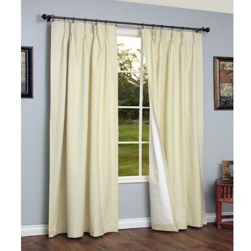 Thermalogic Weathermate Insulated Solid Pinch Pleat Curtain Pair-Natural, 72 x 84