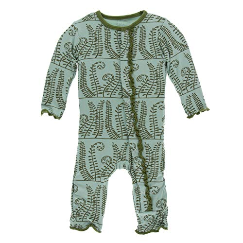 Kickee Pants Little Girls Print Muffin Ruffle Coverall with Snaps - Shore Ferns, 12-18 - Ruffle Coverall