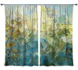 Abstract art draperies, set with two 50''x84'' panels in turquoise and green, Wintercreek