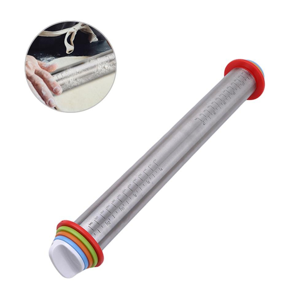 AOLVO Fondant Rolling Pin,17 Inch Large Stainless Steel French Style Dough Roller with Thickness Rings Guides Adjustable French Rolling Pins for Baking Pizza Pie Pastries Cookies Dumpling Noodles