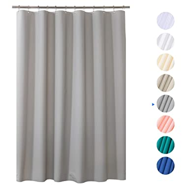 AmazerBath Plastic Shower Curtain, 72  x 72  Grey EVA 8G Thick Bathroom Shower Curtains Non-Toxic No Chemical Odor Eco-Friendly with Heavy Duty Clear Stones and Rust-Resistant Grommet Holes