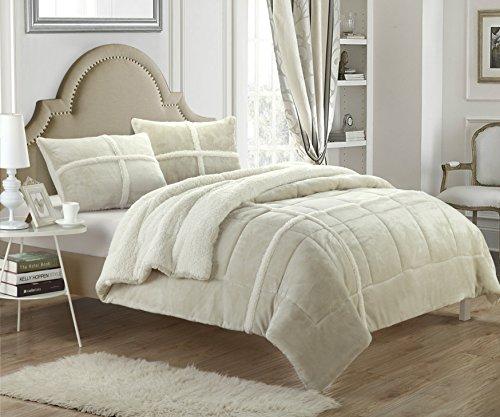 Chic Home 3 Piece Chloe Sherpa Lined Plush Micro Suede Comforter Set, Queen, Beige (Beige Set Comforter)