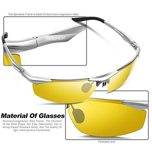 Lunettes de soleil homme Paerde - Lunettes de sport polarisées - Lunettes de conduite avec monture en métal Incassable - 100% anti UV400 Vision nocturne