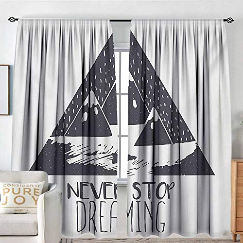 NUOMANAN Living Room Curtains Quote,Grungy Vintage Motivational Snowy Mountain Tops Illustration with Blizzard Effects,Grey White,Darkening and Thermal Insulating Drapes -
