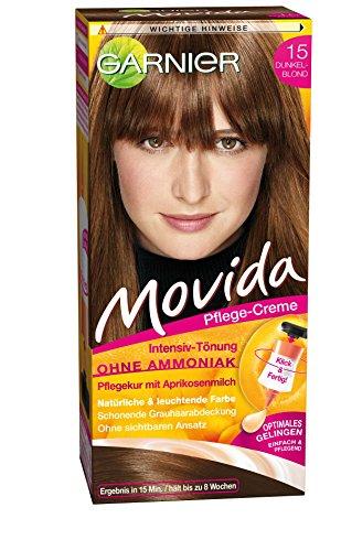 Garnier Tönung Movida Pflege-Creme / Intensiv-Tönung Haarfarbe 15 Dunkelblond (für leuchtende Farben, auch für graues Haar, ohne Ammoniak) 3er Pack Haarcoloration-Set