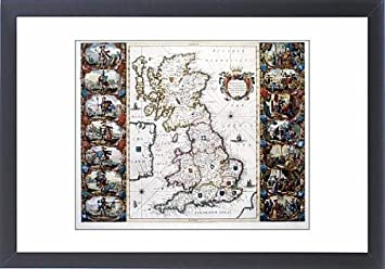 Framed Artwork of AngloSaxon Heptarchy Map of the Kingdoms of