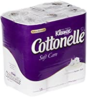 Kleenex Cottonelle Soft Care Papel Higiénico, color Blanco, 18 Rollos de 180 Hojas Dobles