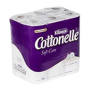 Kleenex Cottonelle Soft Care Papel Higiénico, color Blanco, 18 Rollos de 180 Hojas Dobles