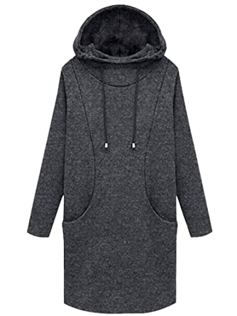 5e6184bacb3d05 Sobrisah Women s Thickening Long Fleece Sweatshirt String Hoodie Dress  Pullover Plus Size Dark Grey Tag 5XL