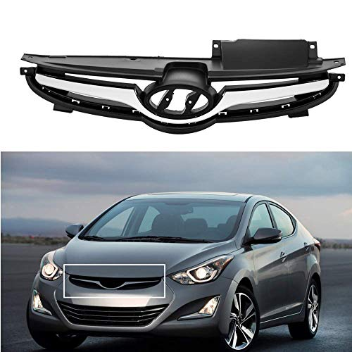 MotorFansClub Front Chrome Center Bumper Grill Replacement Grille for Hyundai Elantra 2014 2015 2016