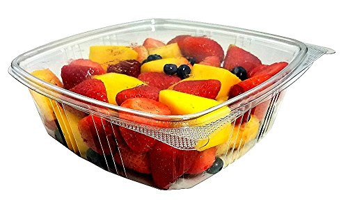 Gallon-Size) RPET Clear Plastic Hinged Lid Deli Meal Prep Fruit Salad Display Food Storage Containers 100% BPA Free (Pack of 12) (Recycled Side Tab Closure Storage)