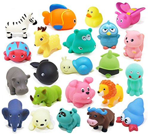 Naovio Baby Bath Toys 10 PCs Soft Evade Glue Animals Toys Kids Water Toys Squeeze Sound Beach Bathroom Toys, Assorted Animals Character (Present Bubbles Christmas)