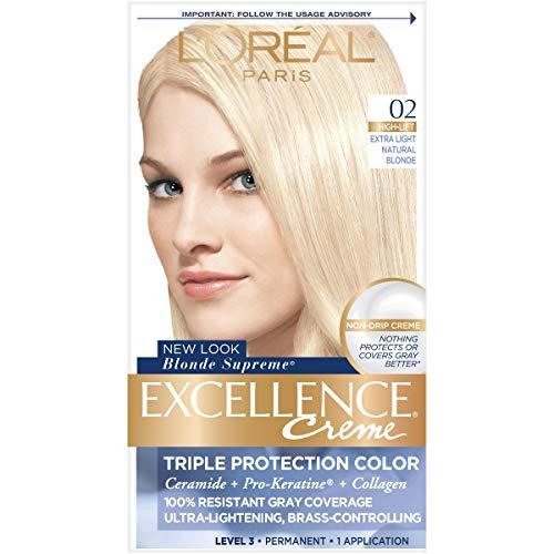 - L'Oréal Paris Excellence Créme Permanent Hair Color, 02 Extra Light Natural Blonde (1 Kit) 100% Gray Coverage Hair Dye