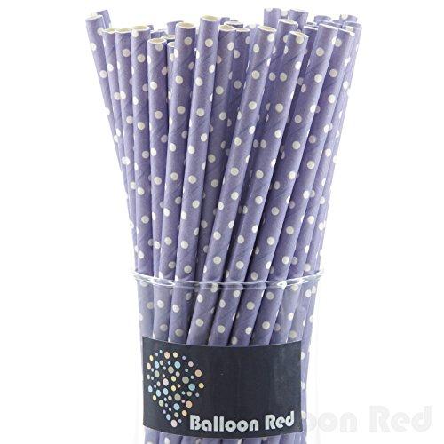 Biodegradable Paper Drinking Straws (Premium Quality), Pack of 50, Polka Dot - Purple / White