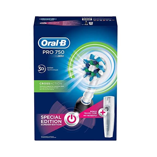 Oral-B PRO 750 CrossAction Pack Regalo, Cepillo de dientes eléctrico recargable, Blanco/Negro 7