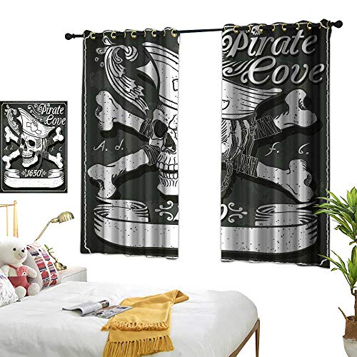 LsWOW Restaurant Curtain W55 x L72 Pirate,Pirate Cove Flag Year of 1650 Vintage Frame Crossbones Floral Swirls Hat Heart,Black White Grey Room Darkening Curtains for ()