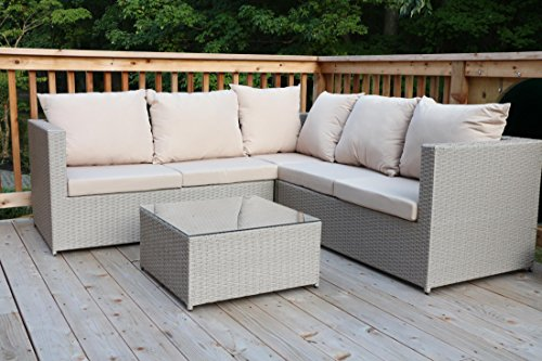(Oliver Smith - Large 4 Pc Modern Beige Rattan Wiker Sectional Sofa Set Outdoor Patio Furniture - Fully Assembled - Aluminum Frame with Ottoman - Light Taupe)