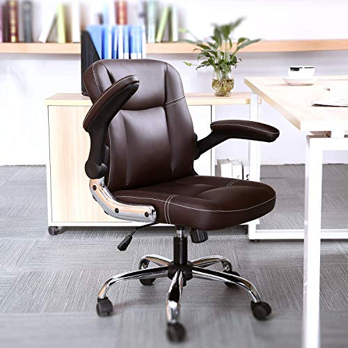 Kerms Mid Back Office Chair PU Leather Executive Desk Chair with Padded Armrests,Adjustable Ergonomic Swivel Task Chair with Lumbar Support(Black) (Brown)