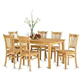 6 person dinning table - East West Furniture CAGR7-OAK-W 7 Pc Dining Room Set - Dinette Table and 6 Kitchen Chairs
