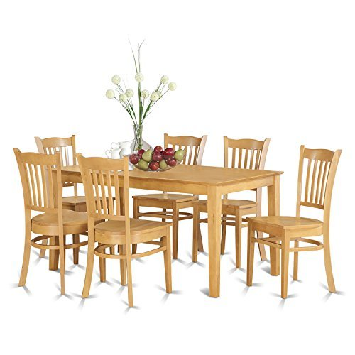 East West Furniture CAGR7-OAK-W 7-Piece Dining Table Set
