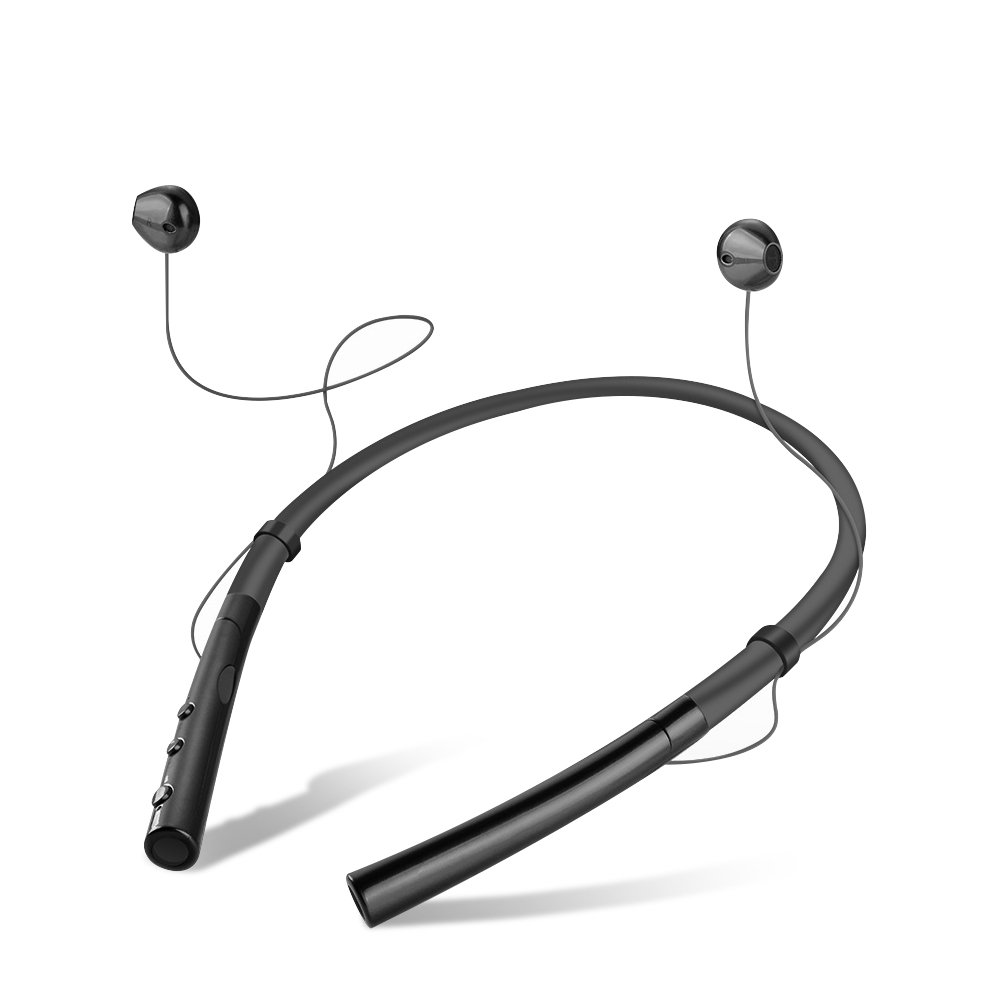 Skyward Ecommerce V4.2 Dual-Mode Bluetooth Headphones Wireless Neckband Headset Stereo Noise Cancelling Earbuds with Mic 12 Hours Playtime -Black