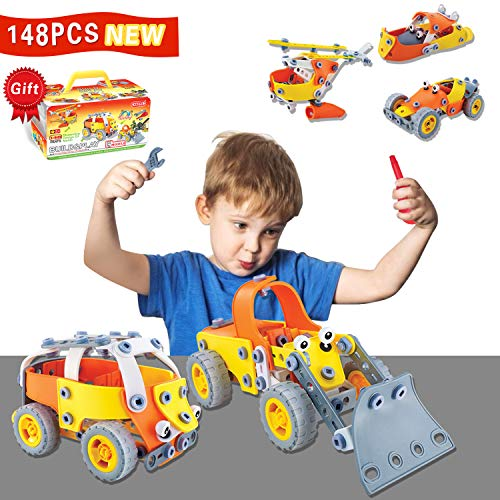 HOMOFY 148PCS Take Apart Toys STEM Educational Building Toys Building Blocks Construction Toys Set DIY Learning Building Kit Best Gift for Boys/Girls 4 5 6 7 8 9 10+Year Old -
