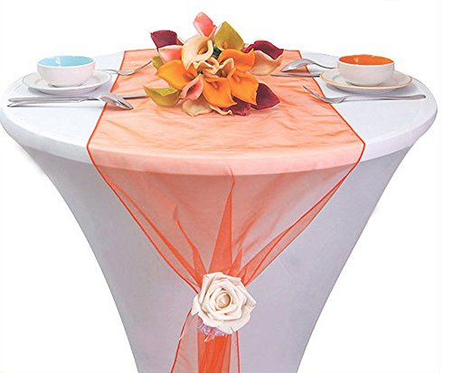 mds Pack of 15 Wedding 12 x 108 inch Organza Table Runner for Wedding Banquet Decor Table Runner- Coral ()