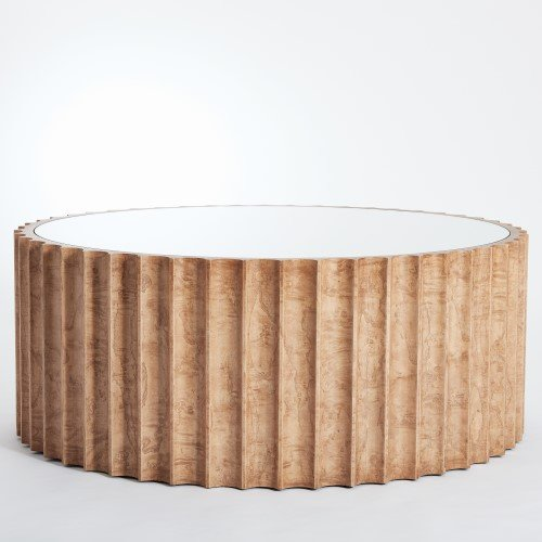 Burl Cocktail Table (Large Fluted Light Burl Drum Coffee Table | 40