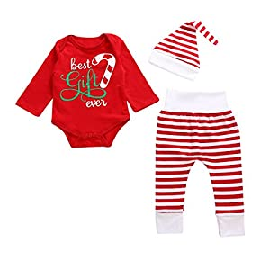 3Pcs Newborn Boy Girl Red Romper+Stripe Pants+Hat Christmas Outfits Clothes Set