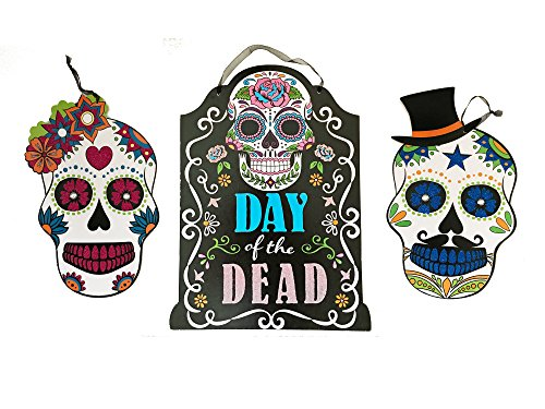 For Day Halloween Dead Of Ideas The (Halloween Day of Dead Sugar Skull Decoration Set of 3 Glitter Hanging Indoor Outdoor)