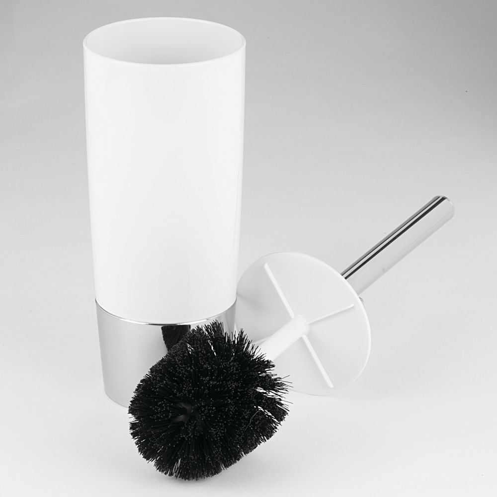 White//Chrome InterDesign Duetto 4 x 17.2 inches 99000 Toilet Bowl Brush and Holder