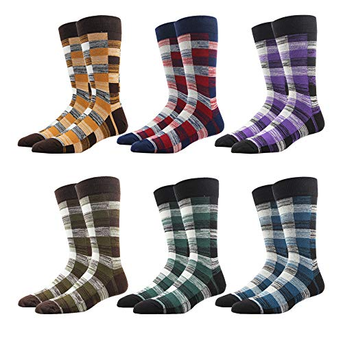 RioRiva Men's Casual Dress Socks Stripe for Suit 90% Cotton Rich Mid Calf Designer Pattern Cute style Colorful