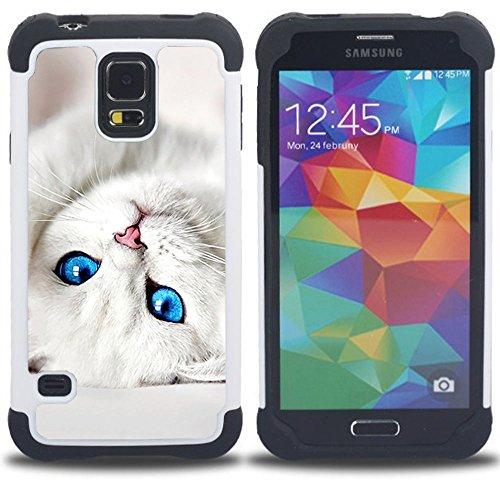 STPlus Gato en una caja Animal Doble Capa de Protección Rígido + Flexible Silicona Carcasa Funda Para Samsung Galaxy S5 #3
