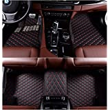 Okutech Custom Fit XPE Leather 3D Full Surrounded Waterproof Car Floor Mats for Audi S5,Black with red stitching