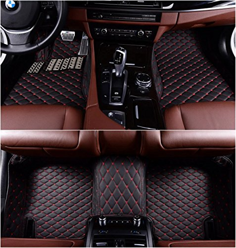 Okutech Custom Fit XPE Leather 3D Full Surrounded Waterproof Car Floor Mats for Mercedes Benz C Class C180 C200 C250 C260 C300 C350 2 door Coupe,Black with red stitching