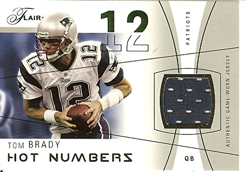 2004 Flair Hot Numbers Game Used Green #HNTB Tom Brady MEM Patriots from Flair