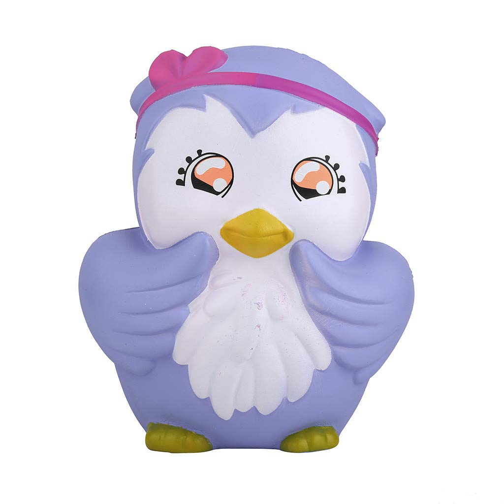Beautly Stress Relief Slow Oversized Cartoon Sad Owl Toy ,Decompression Toy for Adults and Kids,Kill time,Anti-Anxiety,Keep Focus,Relaxing,Soft Squeeze Toys for Friends,Boys and Girls (Purple) by Beautly