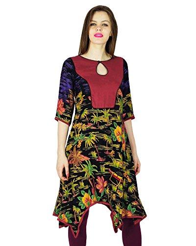 Diseñador Phagun Impreso Kurta Mujeres de India étnicas Kurti ocasional de la túnica Vestido Rayón