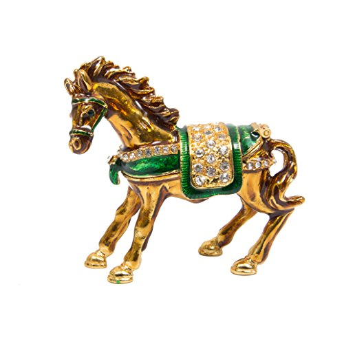 QIFU-Hand Painted Enameled Horse Style Decorative Hinged Jewelry Trinket Box Unique Gift for Home Decor ()
