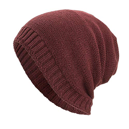 Columbia Wool Beanie - Hot Sales!! ZOMUSAR Women and Men Warm Baggy Weave Crochet Winter Hat Wool Knit Ski Beanie Skull Caps (Wine)
