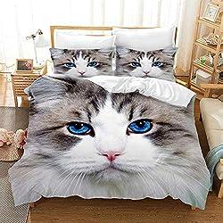 Juego de funda de edredón con diseño de tigre de gato de la serie de fotos realina, juego de cama de 2/3/4 piezas 3D, fundas de edredón/sábanas/fundas de almohada, individual, matrimonial/Queen/King, do, 2xPillow Shams-2PCS