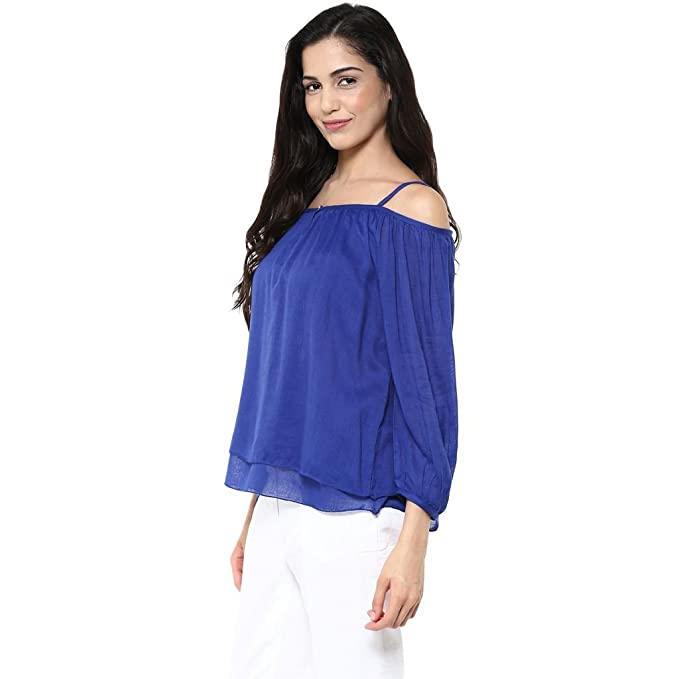 09433600e755a1 The Vanca Women Blue cold shoulder layered top(TSF400819-Blue-XL)   Amazon.in  Clothing   Accessories