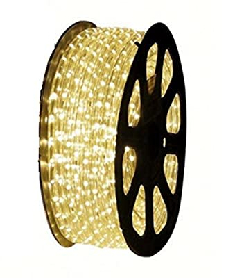 NOVEL HOME TECH 120V UL Listed, 50FT 2-Wire LED Heavy Duty Bright Warm White Expandable Rope Lights Tube, Perfect for Garden, Backyard, Tree trunks Indoor & Outdoor Decoration